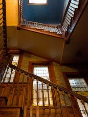 A staircase inside the former Inn at Government House, which is being converted into the Ivy, a luxury boutique hotel in Mount Vernon.