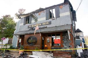 This photo shows the historic Mt. Washington Tavern following a two-alarm fire that broke out Monday morning.