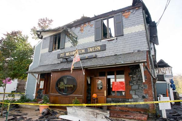 The Mt. Washington Tavern on Monday following an early morning blaze.