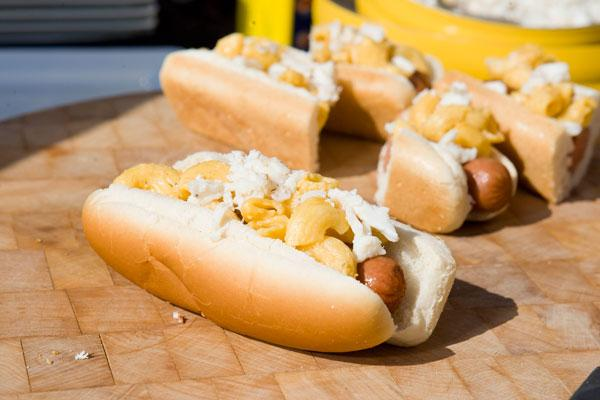 Above, a Stuggy's crab mac and cheese dog. The hot dog shop will open a location in Federal Hill.