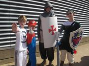 From left to right: Ryan Fairson, dressed as a soccer player; Joseph Beard, dressed as Mario; Michael Gustafson, dressed as a Templar; and, Jenna Fairson, dressed as Link from Legend of Zelda.