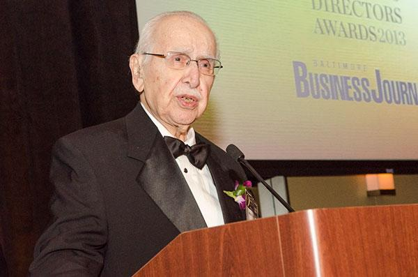 Judge Basil A. Thomas accepts an award in March recognizing his work as a board member of Sinclair Broadcast Group.