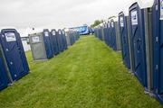 Porta-Potties line the Pimlico infield, where around 60,000 fans could converge on Preakness day.