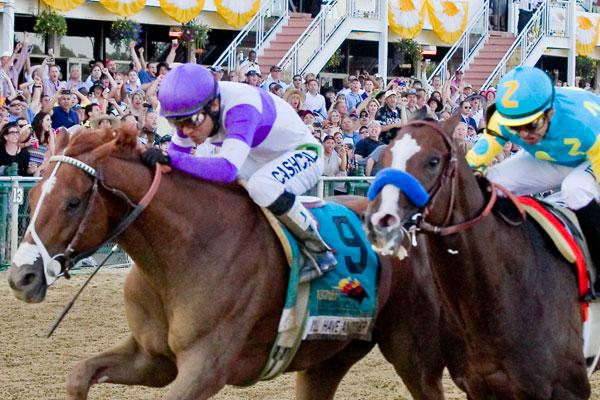 In a thrilling finish, I'll Have Another, the No. 9 horse, edged out Bodemeister to win the 137th running of the Preakness Stakes. I'll Have Another now has a chance to win the Triple Crown if victorious at Belmont.