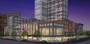 A rendering of planned redevelopment on Howard and Lexington streets.