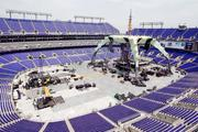 A shot of the stage area assembled at M&T Bank Stadium for the U2 concert.