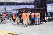 Workers put the final touches on U2's stage in preparation for the band's concert on June 22 at M&T Bank Stadium.