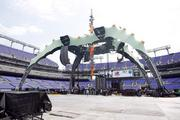 The massive steel structure for U2 at M&T Bank Stadium. The steel structure in 90-feet tall.