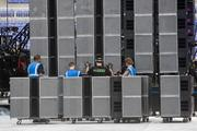 A video screen being built for the U2 concert is up of 1 million pieces.