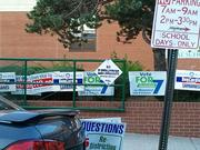 Signs greeted voters on Tuesday outside Hampstead Hill Academy near Patterson Park.