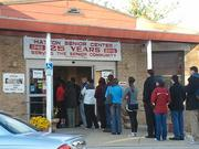 A line of voters formed early Tuesday morning at the Hatton Senior Center in Canton.