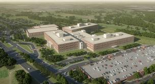 A rendering of the 1.1 million-square-foot U.S. Defense Information Systems Agency facility being built at Fort George G. Meade.