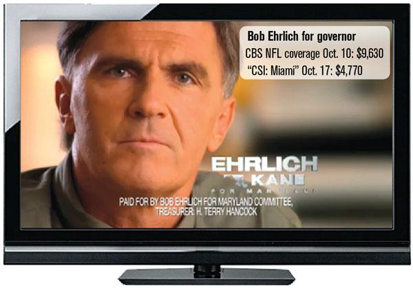 "Bob Ehrlich for governor TV ad: Cost during CBS NFL coverage on Oct. 10: $9,630 Cost during ""CSI: Miami"" Oct. 17: $4,770"