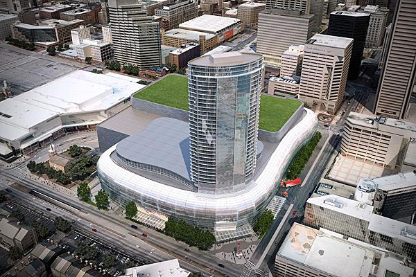 An artist's rendering of a proposed new Baltimore arena and hotel along Conway and Charles streets.