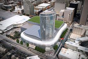 A rendering of the proposed downtown arena complex.