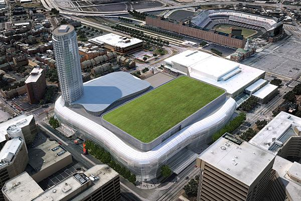 An aerial view of how a proposed new arena and expanded convention, boasting a green roof, would look at the corner of Conway and Charles streets.
