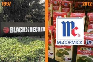 Top public company  1997: Black and Decker Corp., $4.9 billion in revenue  2012: McCormick & Co Inc., $3.7 billion in revenue