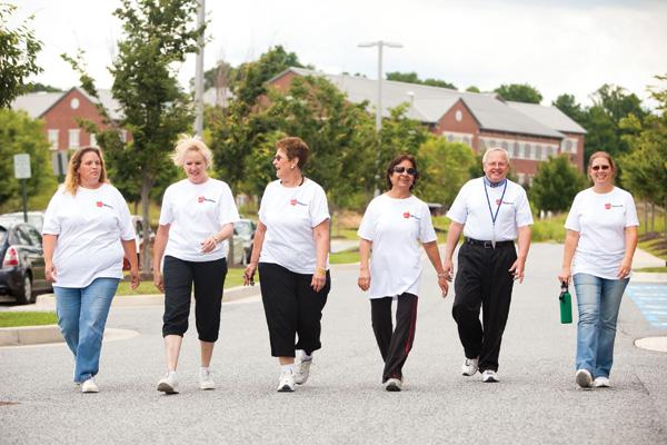 Walking is one of many forms of exercise undertaken by KCI Technologies' staff; 170 employees participating in one company program logged 33,342 miles.