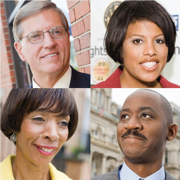 Four of Baltimore's mayoral candidates, clockwise from top left: Joseph T. 'Jody' Landers, Mayor Stephanie Rawlings-Blake, Otis T. Rolley and Sen. Catherine Pugh.