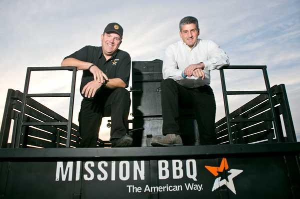 Steve Newton, left, and Bill Kraus launched Mission BBQ in 2011 and plan to expand it to 40 restaurants by 2018.