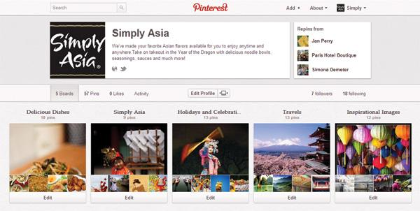 McCormick & Co. Inc.'s Simply Asia division is using Pinterest to promote its brand and foods.