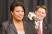 Mayor Stephanie Rawlings-Blake (left) and Baltimore City Councilman William Cole were instrumental in helping Baltimore land the Grand Prix auto race.