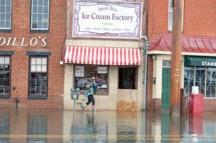 The name apparently didn't help. Storm Bros. Ice Cream Factory was forced to close as the flood waters engulfed Annapolis City Dock. The city fared much better than in 2003's Hurricane Isabel.