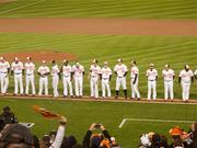 The Orioles lined the field prior to the start of the American League Division Series against the Yankees.