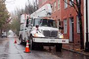 A Baltimore Gas and Electric in Fells Point awaits Monday possible power outages from Hurricane Sandy.