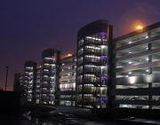 The BWI Airport daily parking garage in purple.