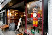 A life-sized Nutcracker stood sentinel in front of Denova in Hampden.