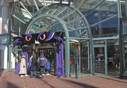 The entrance to the Gallery was converted into a Ravens theme on Friday.