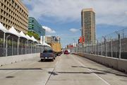 A straightaway along Pratt Street near the Inner Harbor is part of the 2-mile Grand Prix of Baltimore course.