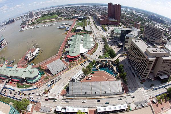 A view of grandstands set up along Pratt and Light streets near Turn 1 of the Grand Prix of Baltimore set for Aug. 31-Sept. 2.