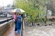 Visitors to Historic Ellicott City snap photos and video of the rushing Patapsco River in the wake of Hurricane Sandy.