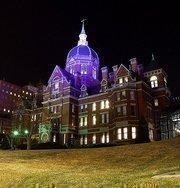 Johns Hopkins Hospital in purple for the Ravens.