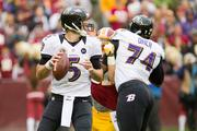 Ravens quarterback: Joe Flacco. The University of Delaware graduate has taken the Ravens to the playoffs in all five of his years in the league.