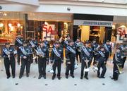 Members of the Ravens marching band entertained a crowd at the Gallery on Friday. The pep rally was held ahead of the team's AFC Championship game in New England.