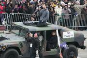 Super Bowl MVP Joe Flacco greet fans along Pratt Street.