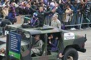 Head Coach John Harbaugh salutes the crowd.