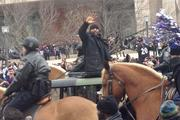 Linebacker Ray Lewis waves to the crowd in his last celebration as a Raven.