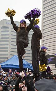 Ravens cheerleaders perform on Monday at a Super Bowl sendoff rally for the team at the Inner Harbor.