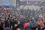 Thousands attended a rally on Monday at the Inner Harbor for the Baltimore Ravens before the team departed for Super Bowl XLVII.