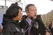 Mayor Stephanie Rawlings-Blake and Gov. Martin O'Malley speak at a Ravens Super Bowl sendoff rally at the Inner Harbor on Monday.
