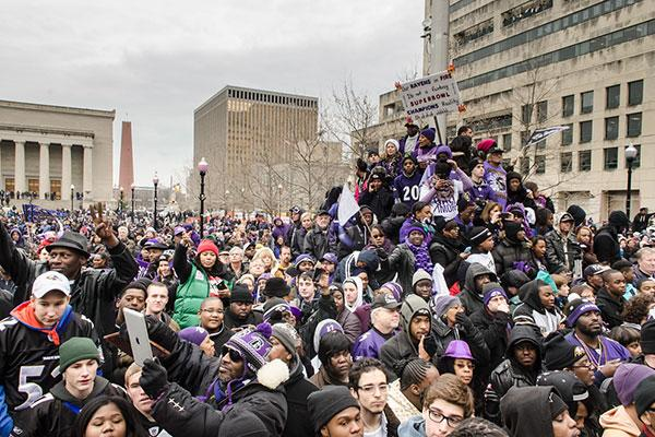 Baltimore Ravens fans flocked to City Hall and along downtown streets to cheer the team during their Super Bowl Victory Parade.