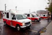 Red Cross vehicles staged in a Little Italy parking lot on Monday in preparation for Hurricane Sandy.