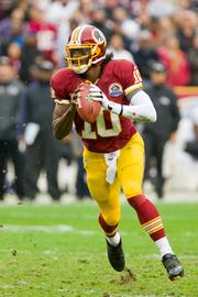 RG3 completed 15 out of 26 passes for 246 yards and one touchdown. He also rushed for 34 yards on seven carries.