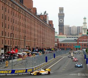 IndyCar driver Ryan Hunter-Rea, in the yellow car, was victorious at the Grand Prix of Baltimore
