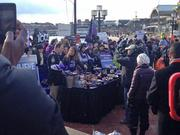"""""""Today"""" show host Natalie Morales with Ravens fans, and no shortage of Ravens memorabilia."""