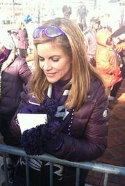 """Today"" show host Natalie Morales signs autographs for Ravens fans after her live broadcast from the Inner Harbor."